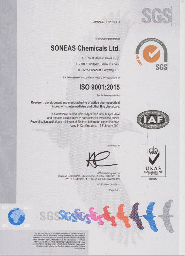 Soneas Chemicals ISO